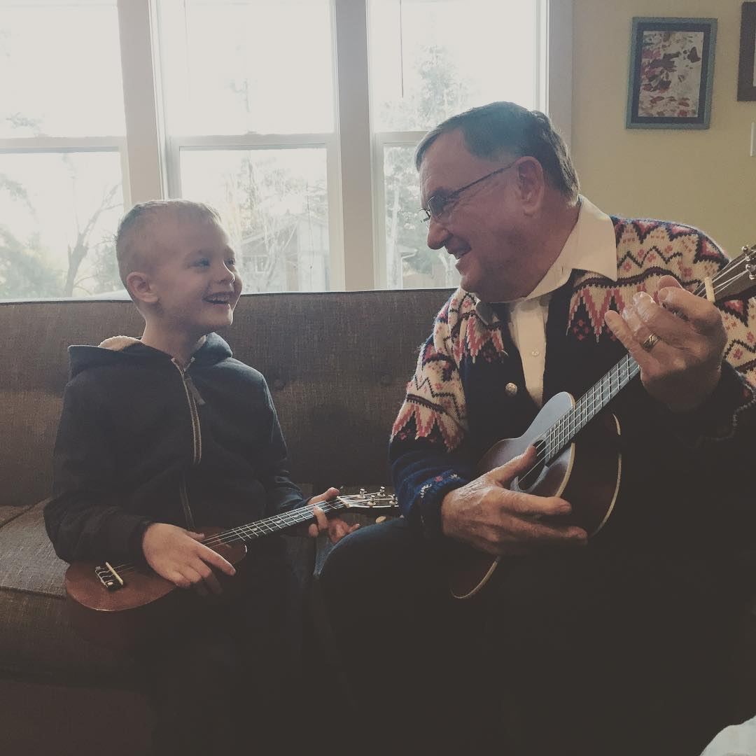 Be still my heart.  Ukulele Love with Grandpa.